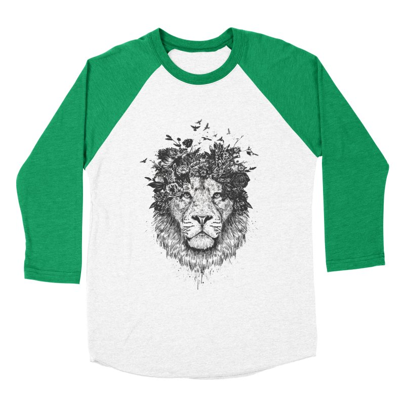 Floral lion (bw) Men's Baseball Triblend Longsleeve T-Shirt by Balazs Solti