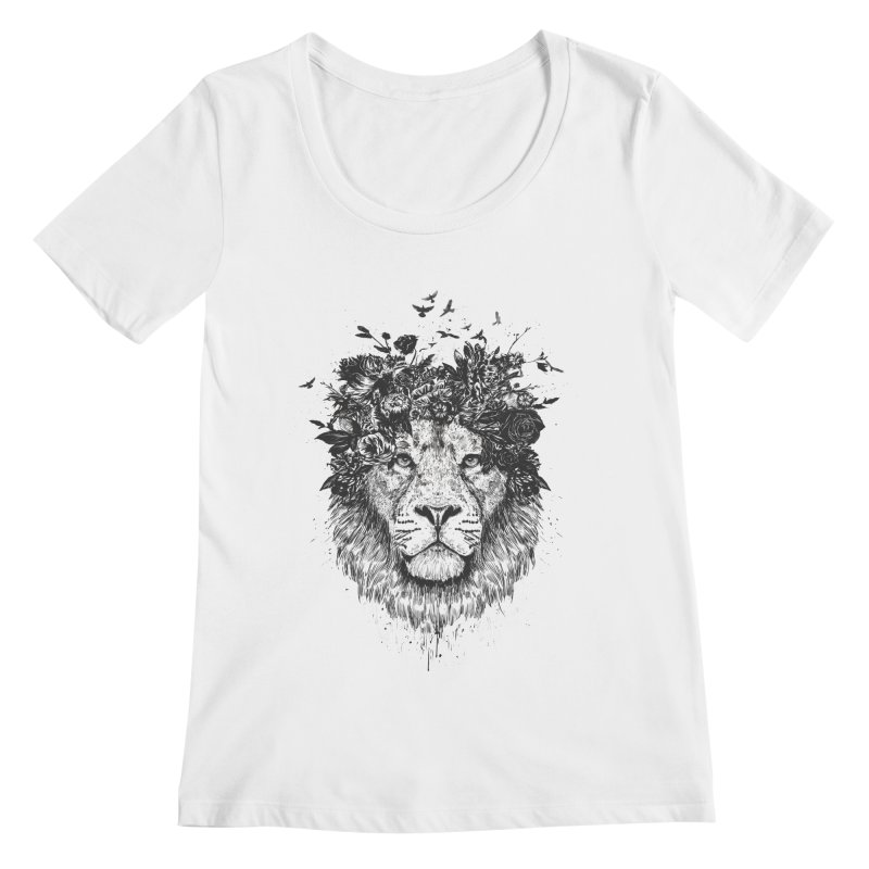 Floral lion (bw) Women's Regular Scoop Neck by Balazs Solti