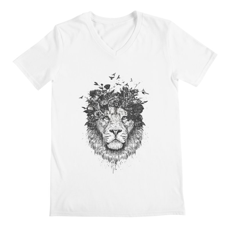 Floral lion (bw) Men's Regular V-Neck by Balazs Solti
