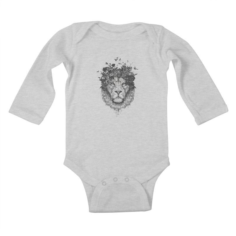 Floral lion (bw) Kids Baby Longsleeve Bodysuit by Balazs Solti