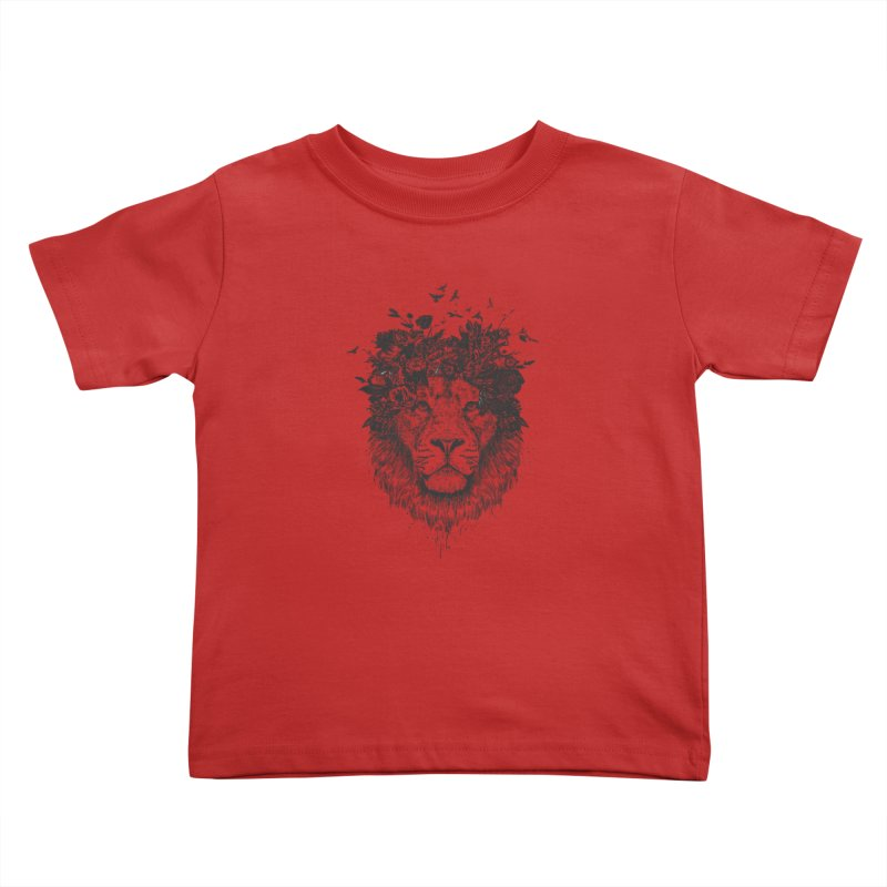 Floral lion (bw) Kids Toddler T-Shirt by Balazs Solti