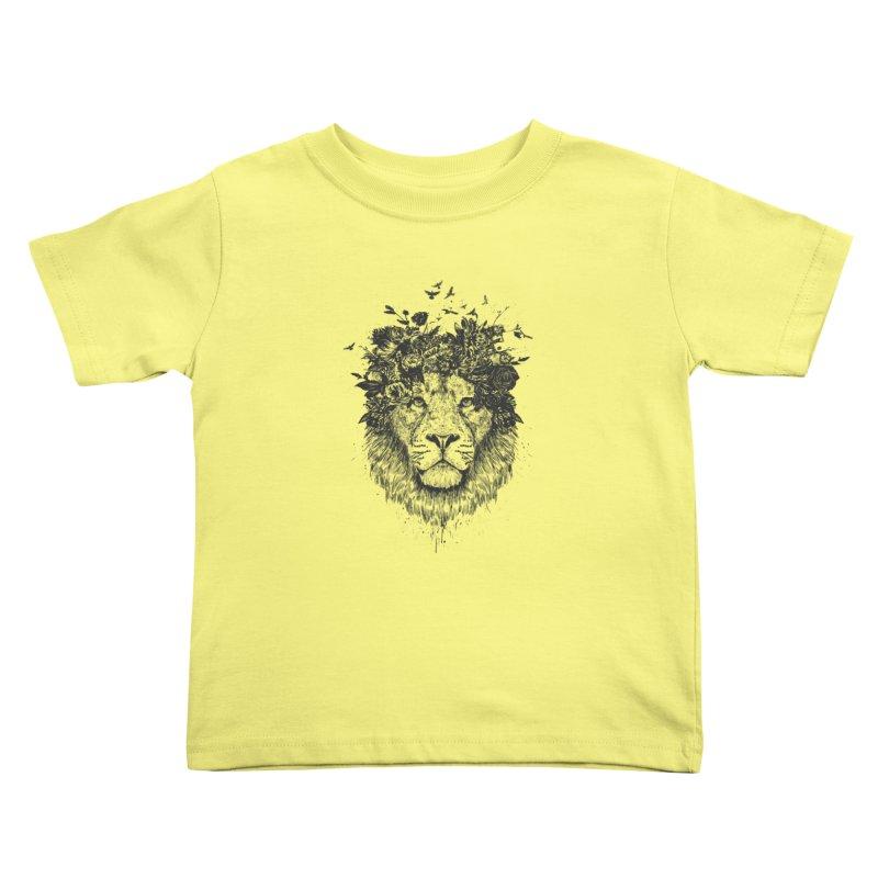 Floral lion (bw) Kids  by Balazs Solti