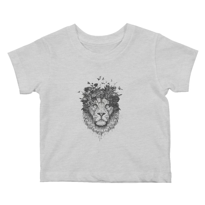 Floral lion (bw) Kids Baby T-Shirt by Balazs Solti