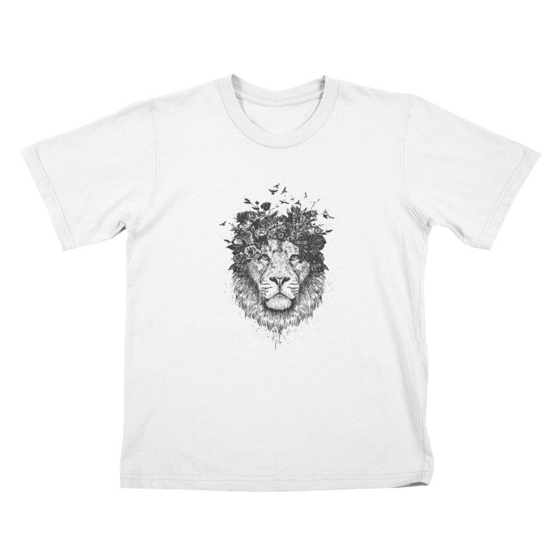 Floral lion (bw) Kids T-Shirt by Balazs Solti