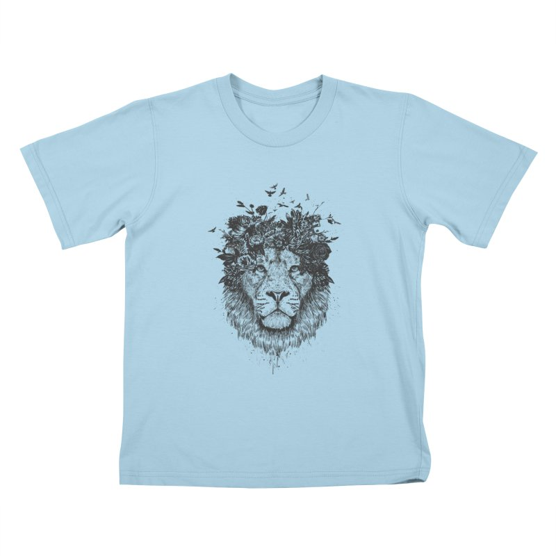 Floral lion (bw) Kids T-Shirt by Balazs Solti