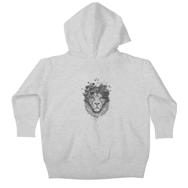 Floral lion (bw) Kids Baby Zip-Up Hoody by Balazs Solti