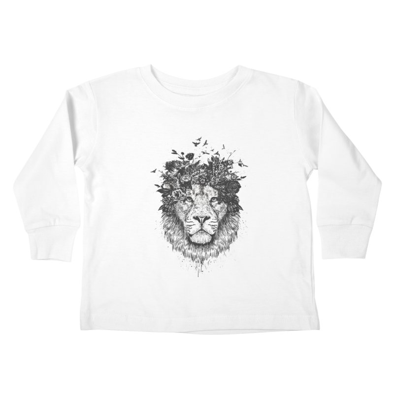 Floral lion (bw) Kids Toddler Longsleeve T-Shirt by Balazs Solti
