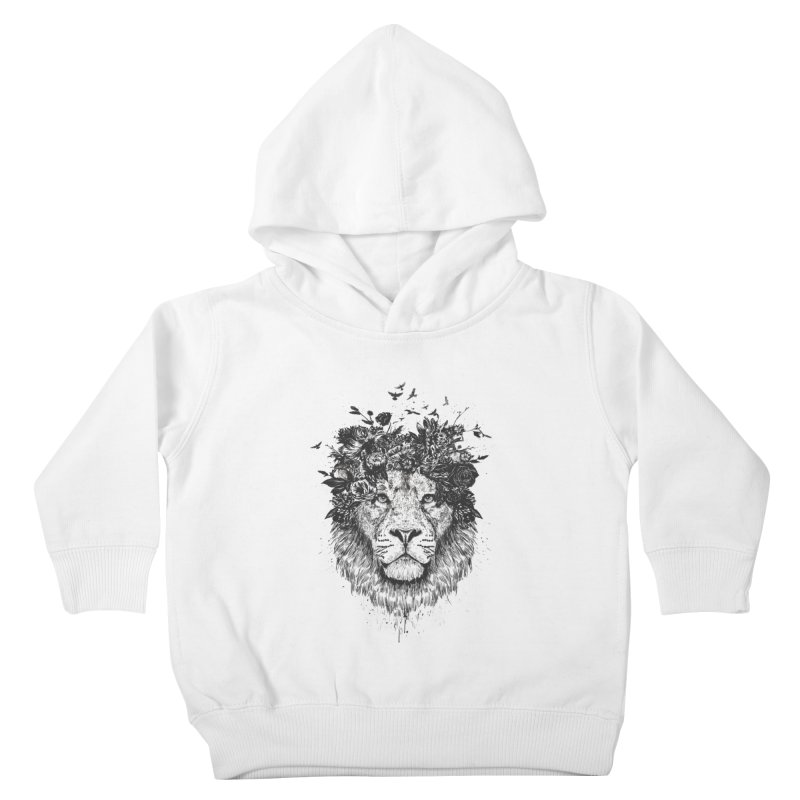 Floral lion (bw) Kids Toddler Pullover Hoody by Balazs Solti