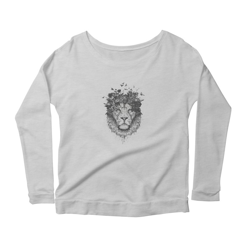 Floral lion (bw) Women's Scoop Neck Longsleeve T-Shirt by Balazs Solti
