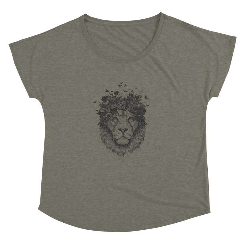 Floral lion (bw) Women's Dolman Scoop Neck by Balazs Solti