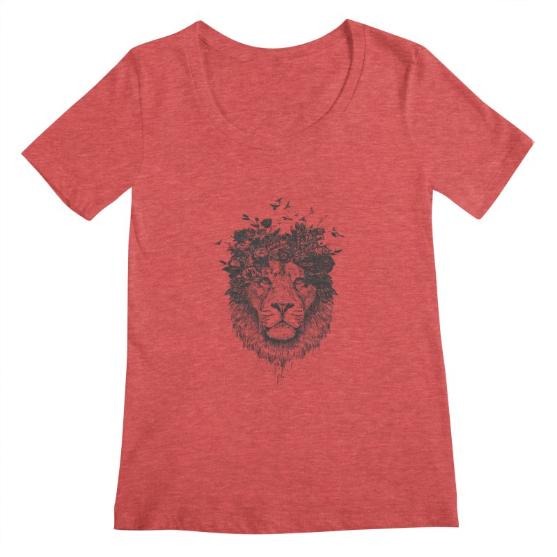 Floral lion (bw) Women's Scoopneck by Balazs Solti