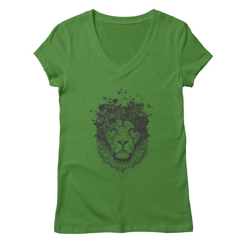 Floral lion (bw) Women's Regular V-Neck by Balazs Solti