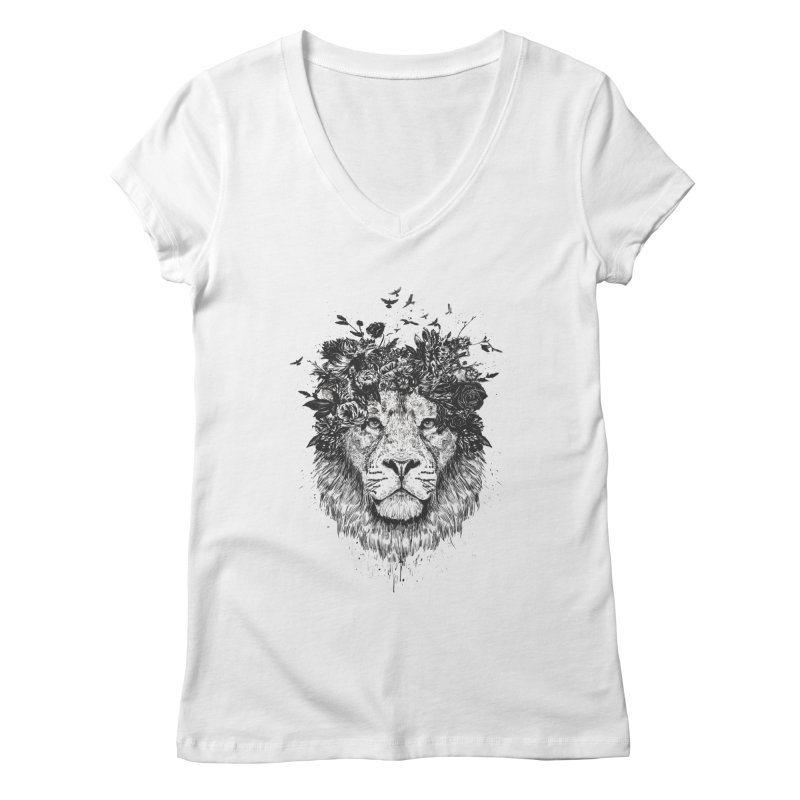 Floral lion (bw) Women's Regular V-Neck by Balazs Solti