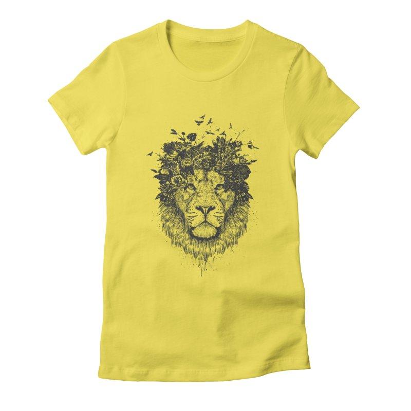 Floral lion (bw) Women's T-Shirt by Balazs Solti