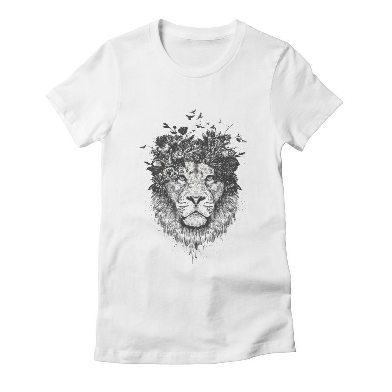 Floral lion (bw) Women's Fitted T-Shirt by Balazs Solti