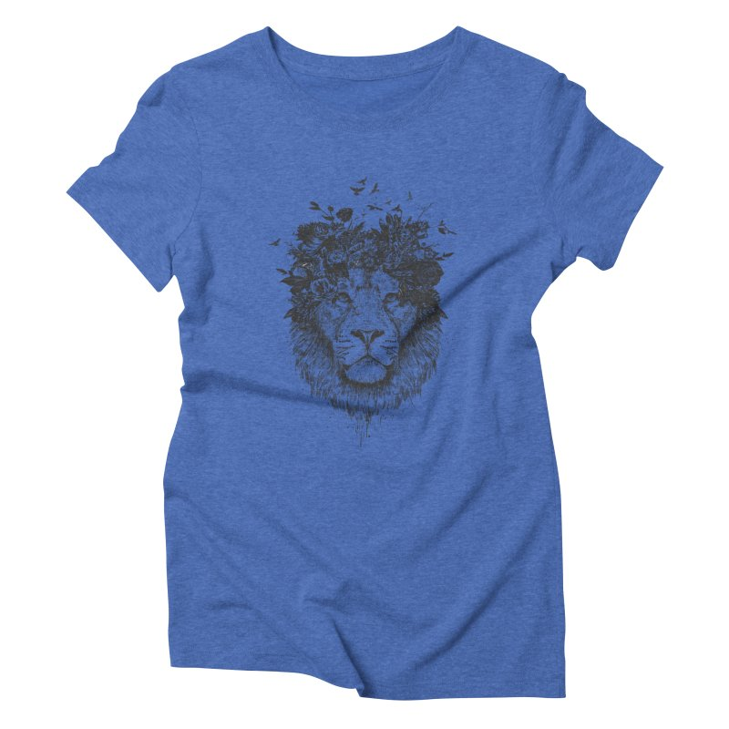 Floral lion (bw) Women's Triblend T-Shirt by Balazs Solti