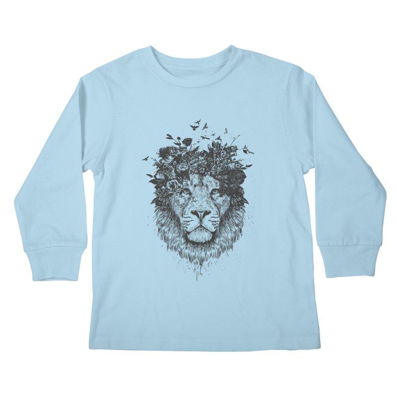 Floral lion (bw) Kids Longsleeve T-Shirt by Balazs Solti