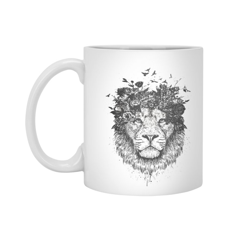 Floral lion (bw) Accessories Mug by Balazs Solti