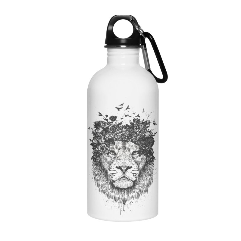 Floral lion (bw) Accessories Water Bottle by Balazs Solti