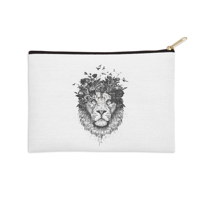 Floral lion (bw) Accessories Zip Pouch by Balazs Solti