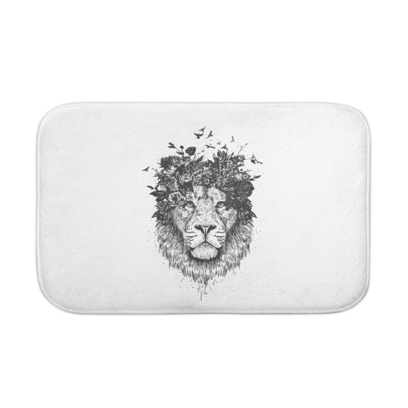 Floral lion (bw) Home Bath Mat by Balazs Solti