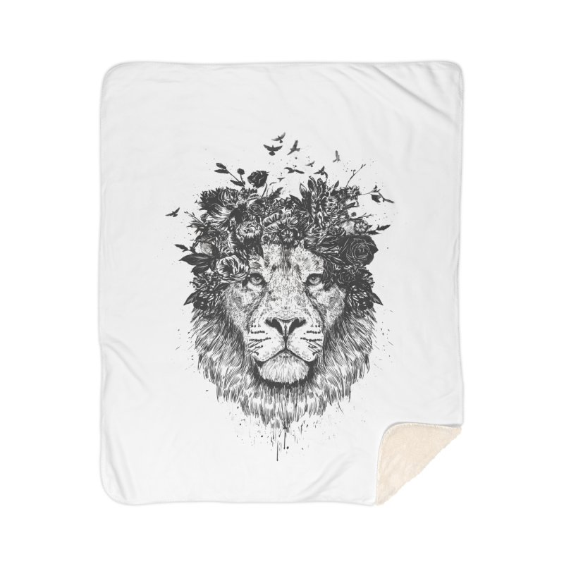 Floral lion (bw) Home Sherpa Blanket Blanket by Balazs Solti