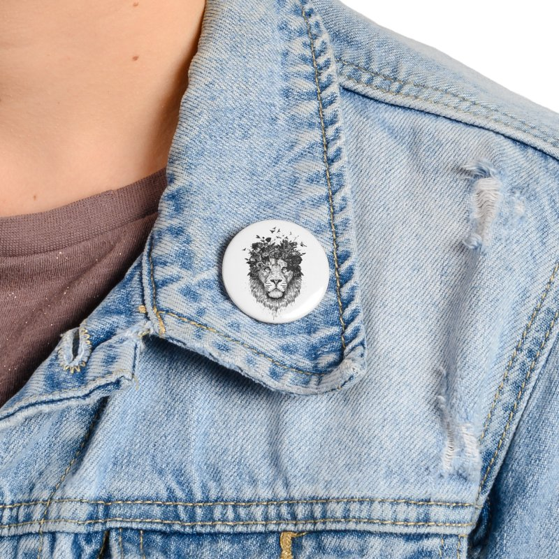 Floral lion (bw) Accessories Button by Balazs Solti