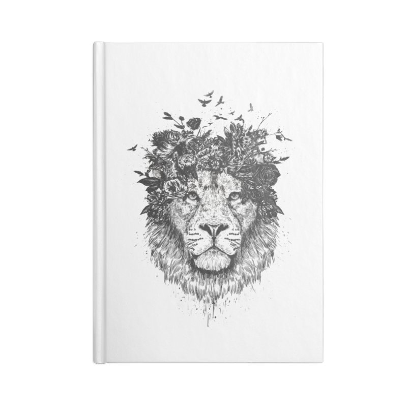 Floral lion (bw) Accessories Lined Journal Notebook by Balazs Solti