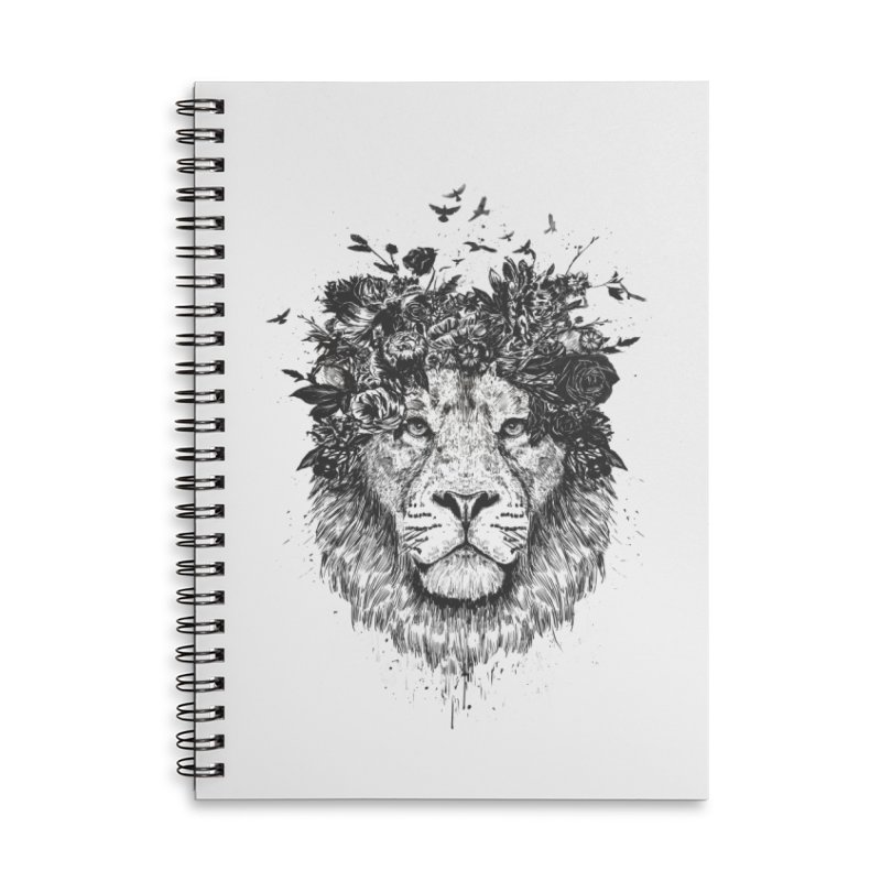 Floral lion (bw) Accessories Lined Spiral Notebook by Balazs Solti