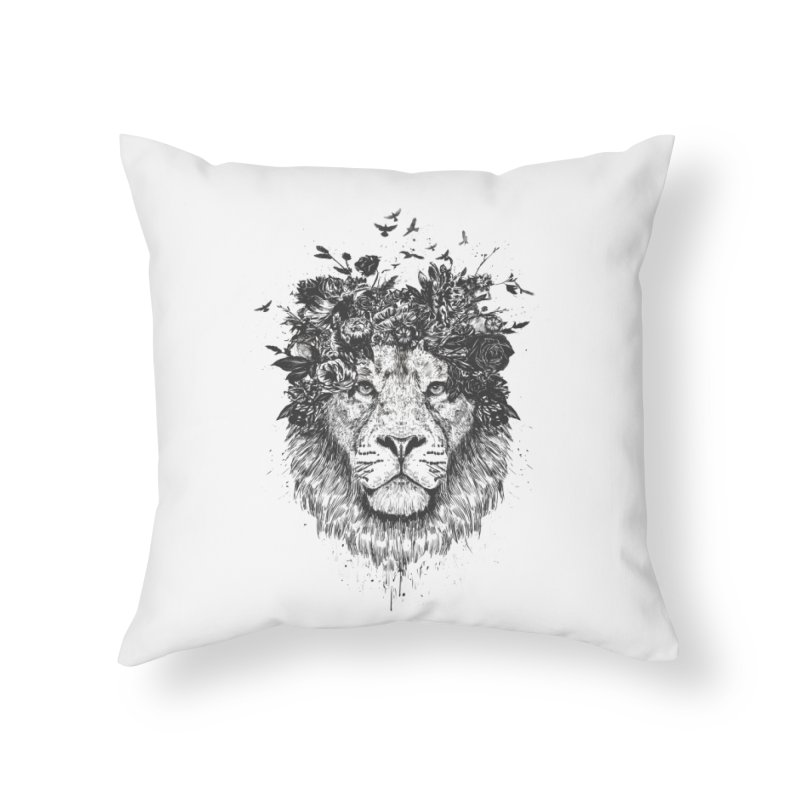 Floral lion (bw) Home Throw Pillow by Balazs Solti