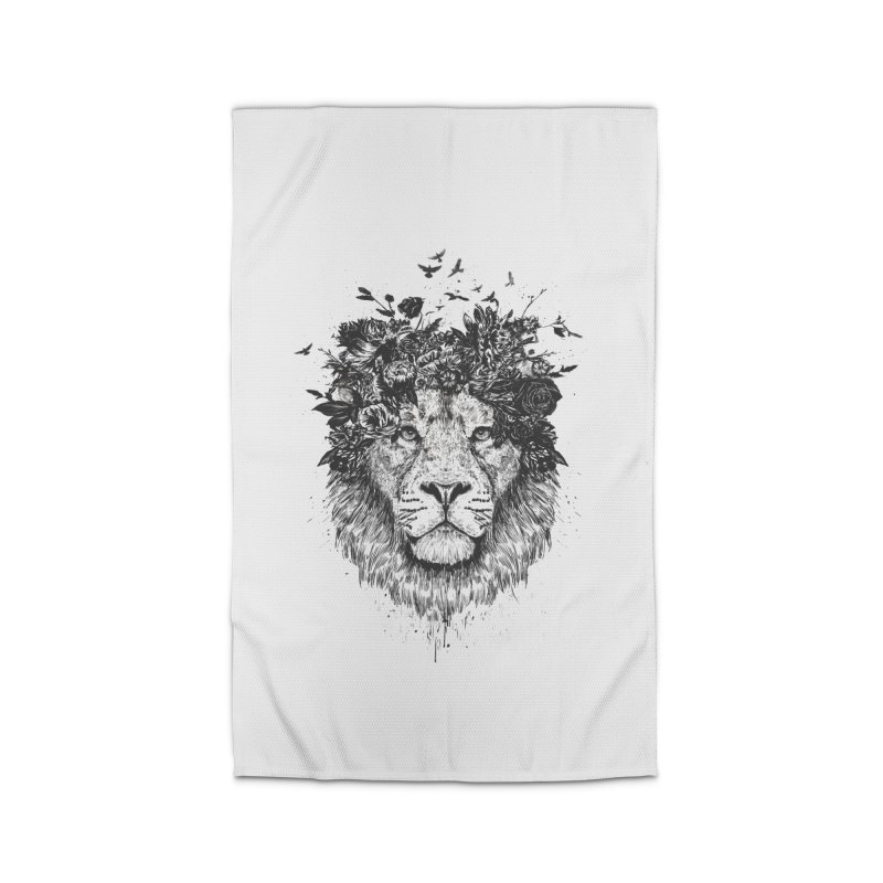 Floral lion (bw) Home Rug by Balazs Solti