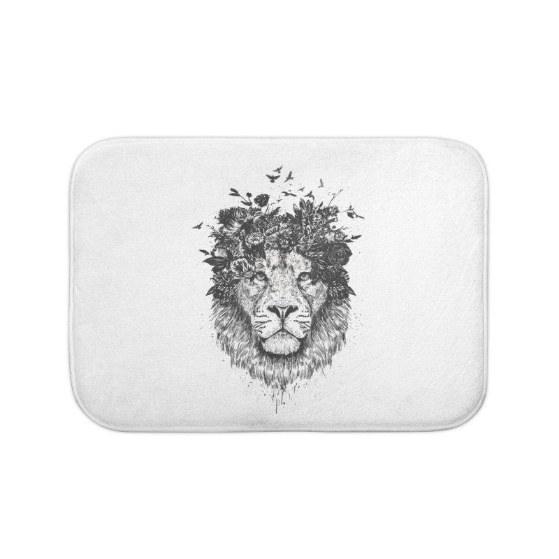 Floral lion (bw) Home Bath Mat by Balazs Solti