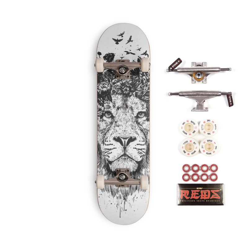 Floral lion (bw) Accessories Complete - Pro Skateboard by Balazs Solti