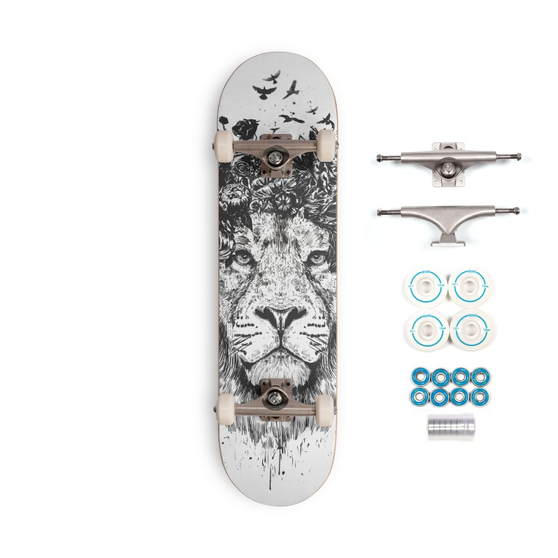 Floral lion (bw) Accessories Complete - Basic Skateboard by Balazs Solti