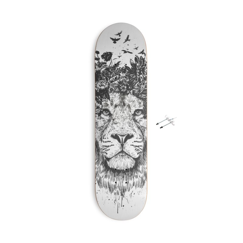 Floral lion (bw) Accessories With Hanging Hardware Skateboard by Balazs Solti