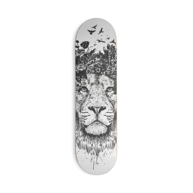 Floral lion (bw) Accessories Deck Only Skateboard by Balazs Solti