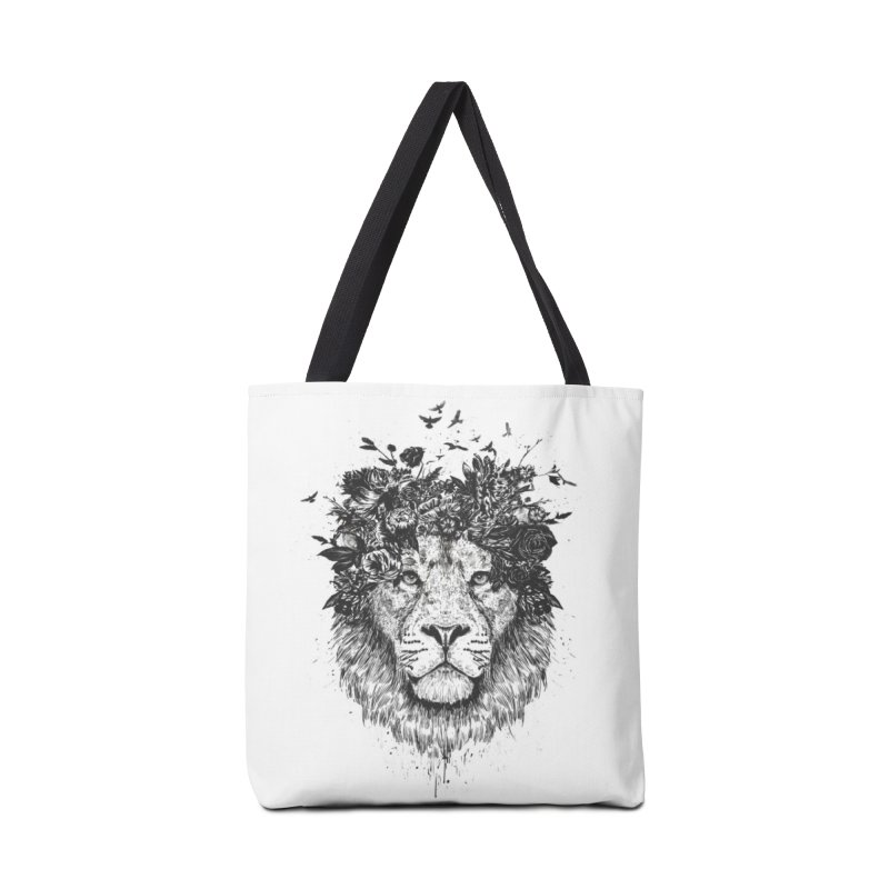 Floral lion (bw) Accessories Tote Bag Bag by Balazs Solti