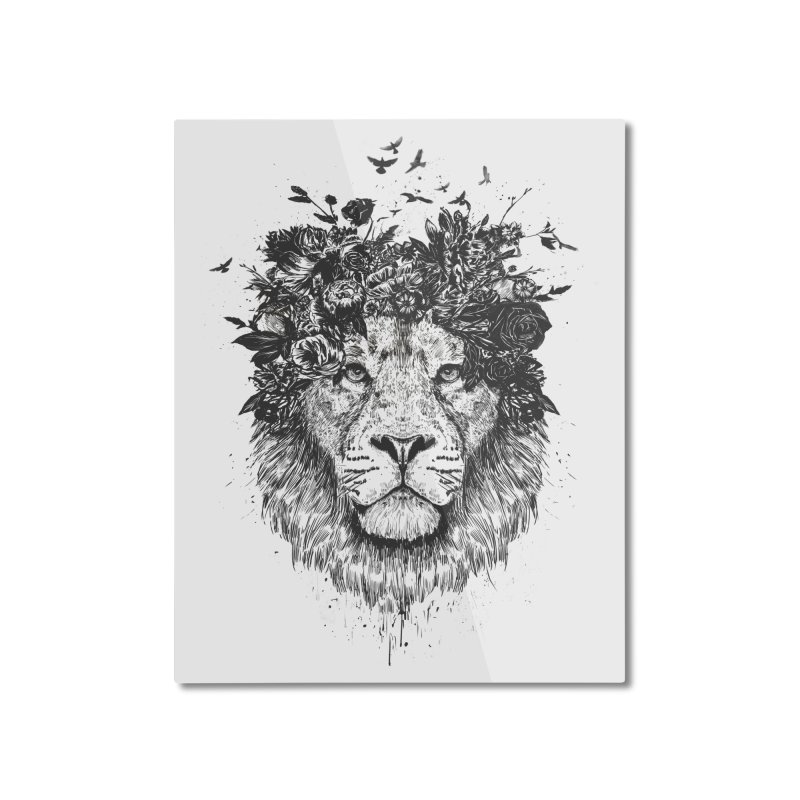 Floral lion (bw) Home Mounted Aluminum Print by Balazs Solti