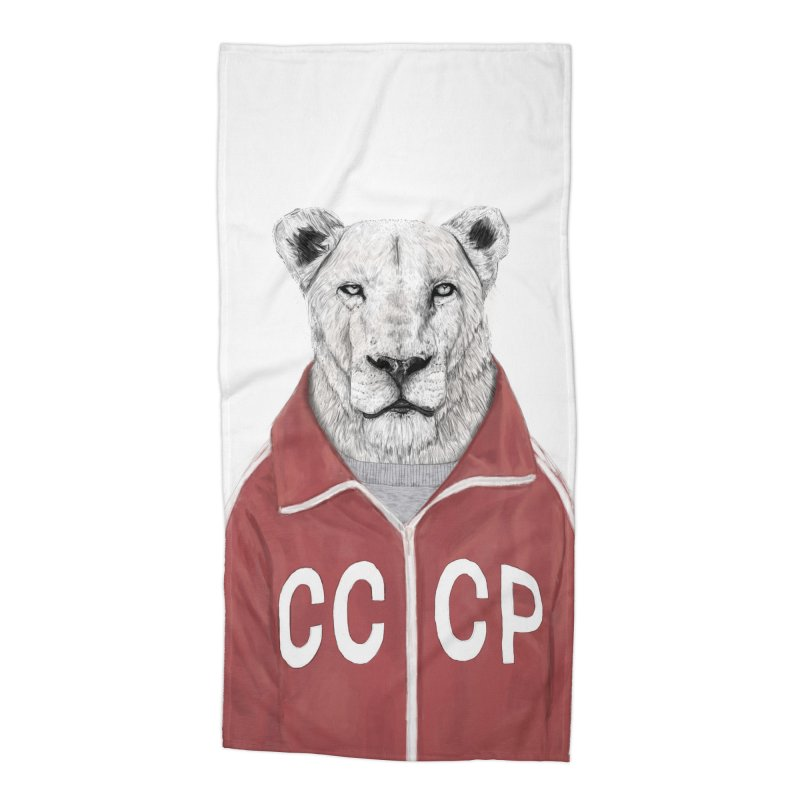 Soviet lion Accessories Beach Towel by Balazs Solti