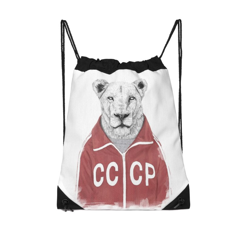 Soviet lion Accessories Drawstring Bag Bag by Balazs Solti