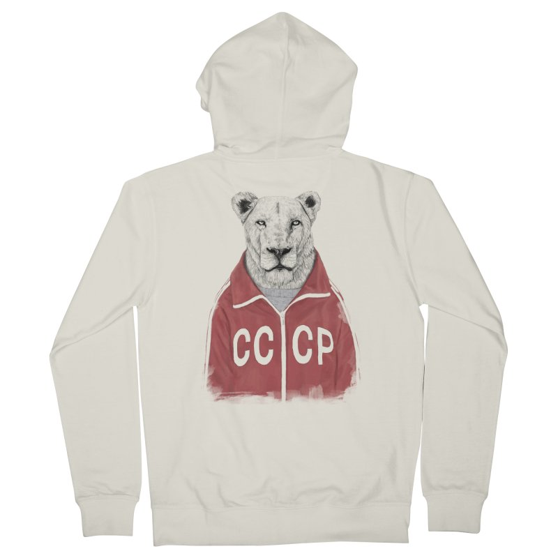 Soviet lion Women's French Terry Zip-Up Hoody by Balazs Solti