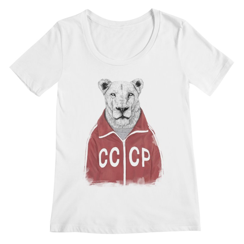 Soviet lion Women's Regular Scoop Neck by Balazs Solti