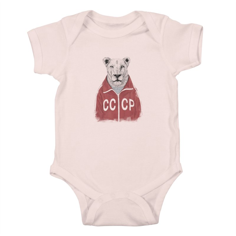Soviet lion Kids Baby Bodysuit by Balazs Solti
