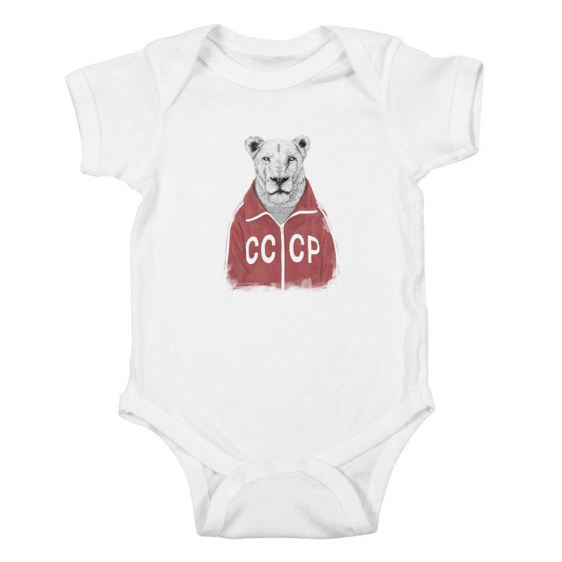 Soviet lion Kids Baby Bodysuit by Balazs Solti
