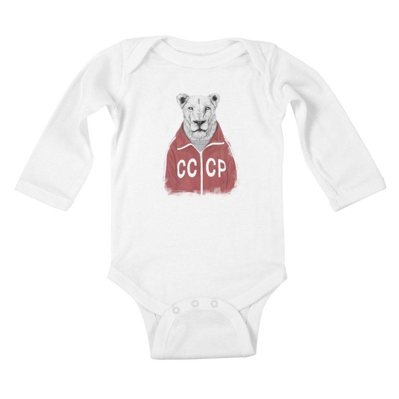 Soviet lion Kids Baby Longsleeve Bodysuit by Balazs Solti