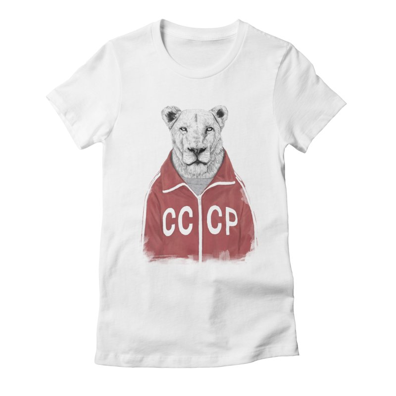 Soviet lion Women's Fitted T-Shirt by Balazs Solti
