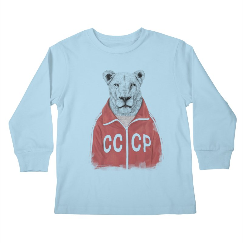 Soviet lion Kids Longsleeve T-Shirt by Balazs Solti