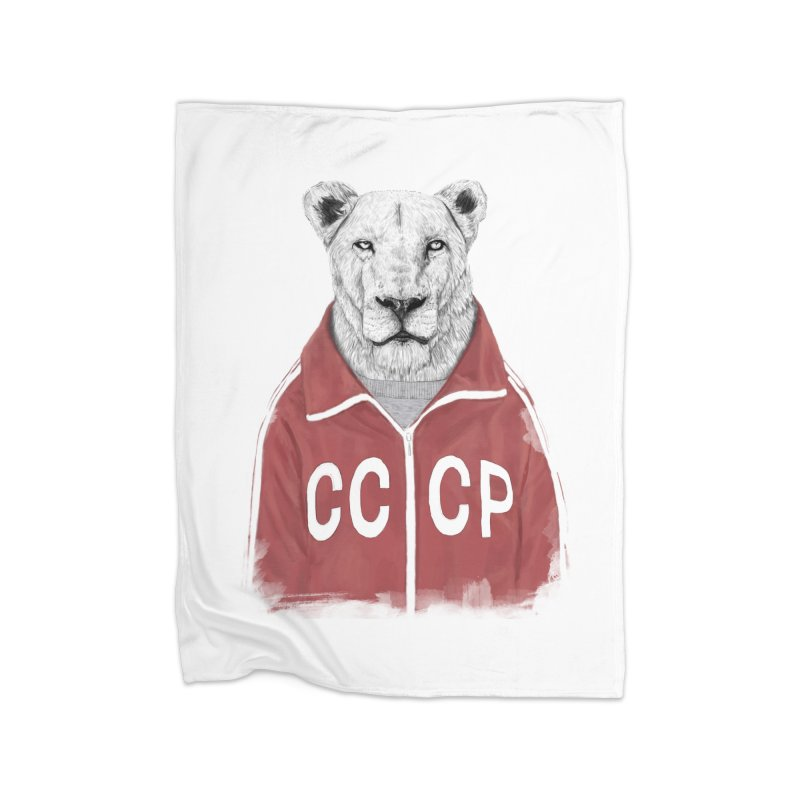Soviet lion Home Blanket by Balazs Solti