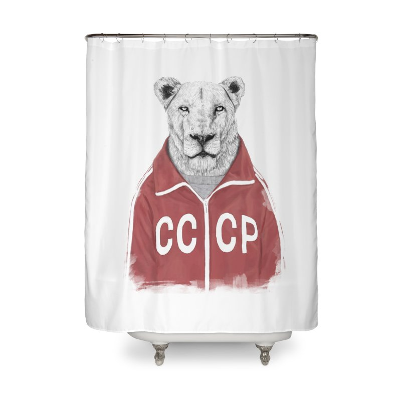 Soviet lion Home Shower Curtain by Balazs Solti