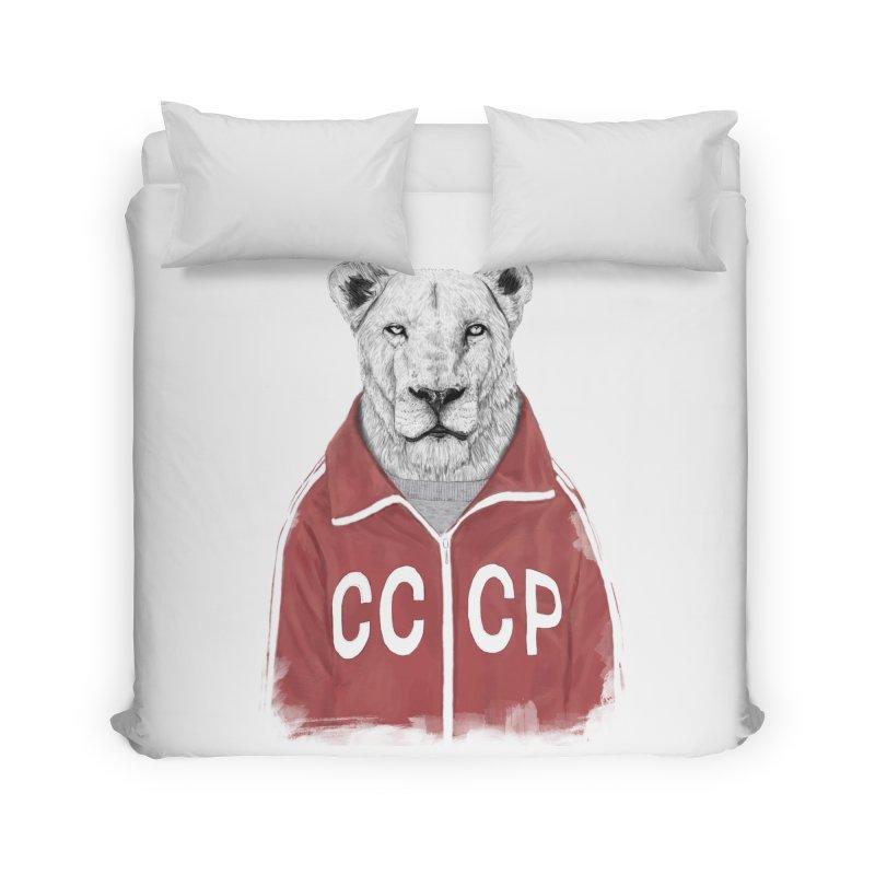 Soviet lion Home Duvet by Balazs Solti